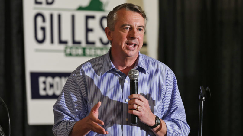 Republican US Senate candidate, Ed Gillespie, speaks during a rally in Ashland, Va., Wednesday, Oct. 15, 2014. (AP Photo/Steve Helber)