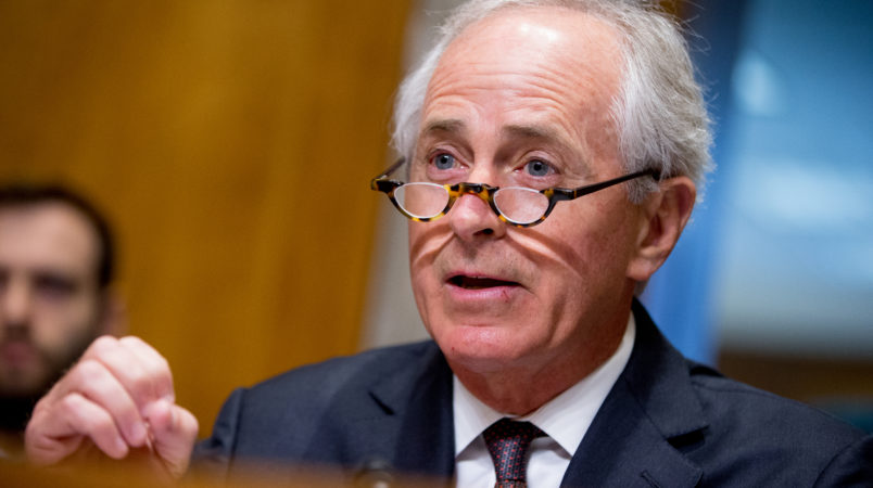 Chairman Bob Corker, R-Tenn., questions State Department Under Secretary for Political Affairs Thomas Shannon, Jr., as he testifies at a Senate Foreign Relations Committee hearing on Capitol Hill in Washington, Tuesday, April 5, 2016, on recent Iranian actions and implementation of the nuclear deal. (AP Photo/Andrew Harnik)