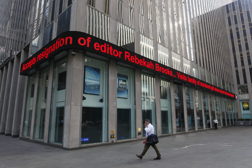 Friday, July 15, 2011 in New York.  Rupert Murdoch accepted the resignation of The Wall Street Journal's publisher and the chief of his British operations on Friday as the once-defiant media mogul struggled to control an escalating phone hacking scandal with apologies to the public and the family of a murdered schoolgirl. The controversy claimed its first victim in the United States as Les Hinton, chief executive of the Murdoch-owned Dow Jones & Co. and publisher of the Wall Street Journal, announced he was resigning, effective immediately. (AP Photo/Mary Altaffer)