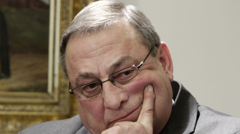 **OTK**In this Wednesday, Jan. 19, 2011 photo, Gov. Paul LePage reacts during a news conference at the State House in Augusta, Maine..  (AP Photo/Pat Wellenbach)