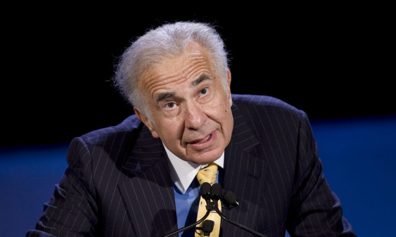 Private equity investor Carl Icahn speaks at the World Business Forum on Thursday, Oct. 11, 2007 in New York. (AP Photo/Mark Lennihan)