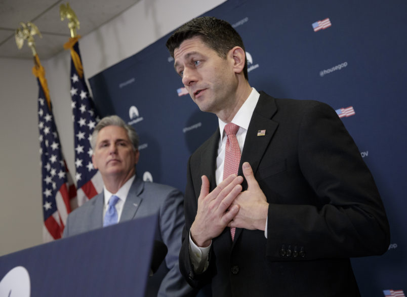 Speaker of the House Paul Ryan, R-Wis., joined from left by, Majority Leader Kevin McCarthy, R-Calif., talks about getting past last week's failure to pass a health care overhaul bill and rebuilding unity in the Republican Conference, at the Capitol,  in Washington, Tuesday, March 28, 2017.  (AP Photo/J. Scott Applewhite)