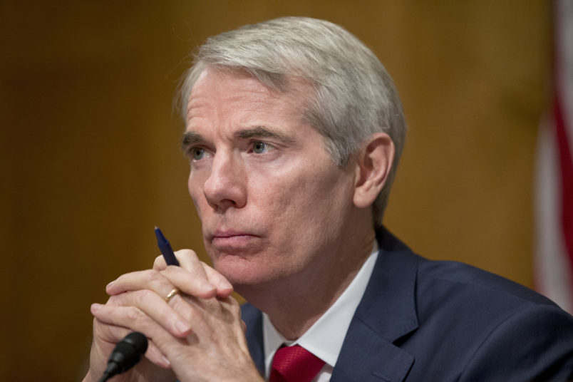 Chairman Rob Portman of Ohio, listens during a hearing of the Senate Permanent Subcommittee on Investigations to review billing and customer service practices in the cable and satellite television industry, on Capitol Hill, Thursday, June 23, 2016 in Washington. (AP Photo/Alex Brandon)
