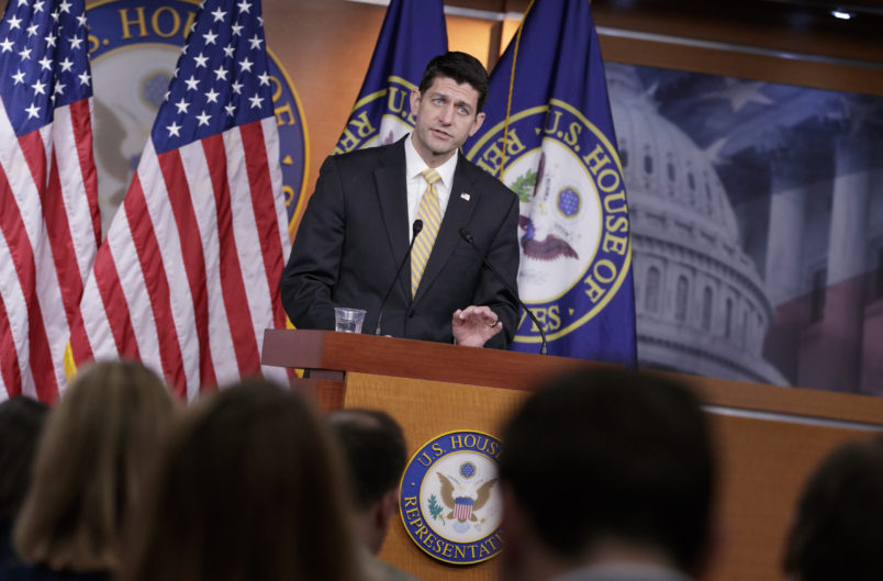 Speaker of the House Paul Ryan, R-Wis., meets with reporters on Capitol Hill in Washington, Thursday, March 2, 2017. (AP Photo/J. Scott Applewhite)