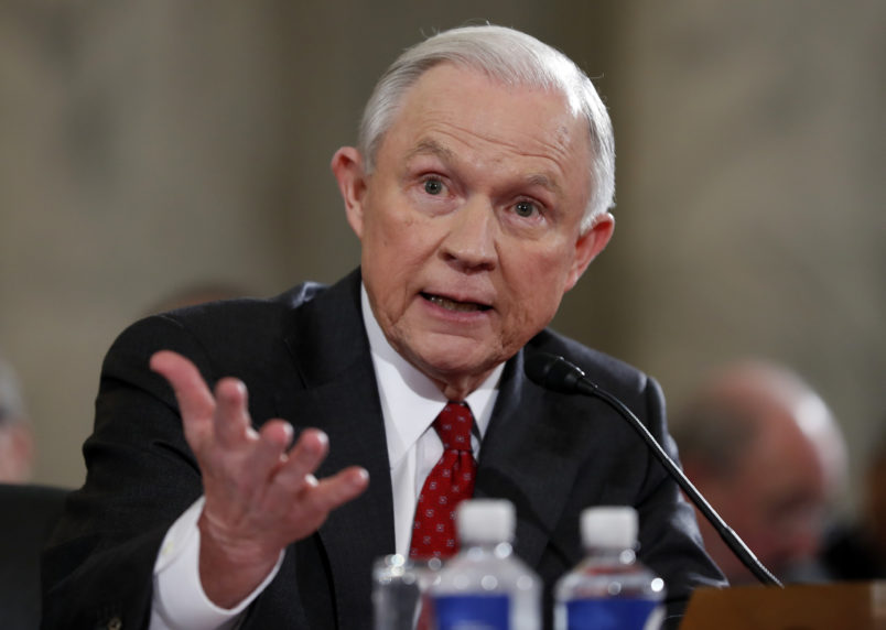Attorney General-designate, Sen. Jeff Sessions, R-Ala., testifies on Capitol Hill, Tuesday, Jan. 10, 2017 in Washington, before the Senate Judiciary Committee's confirmation hearing. (AP Photo/Alex Brandon)