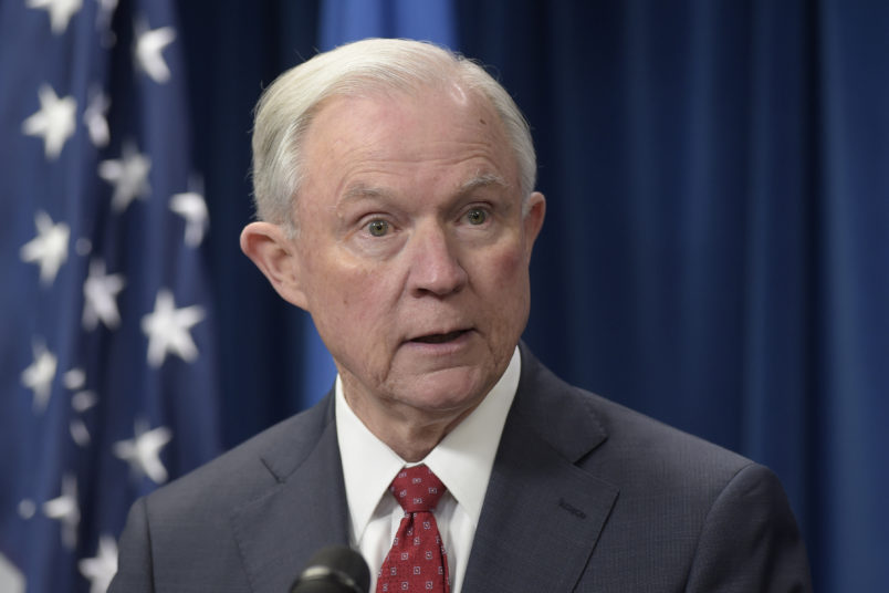 Attorney General Jeff Sessions makes a statement on issues related to visas and travel, Monday, March 6, 2017, from the U.S. Customs and Border Protection office in Washington. (AP Photo/Susan Walsh)