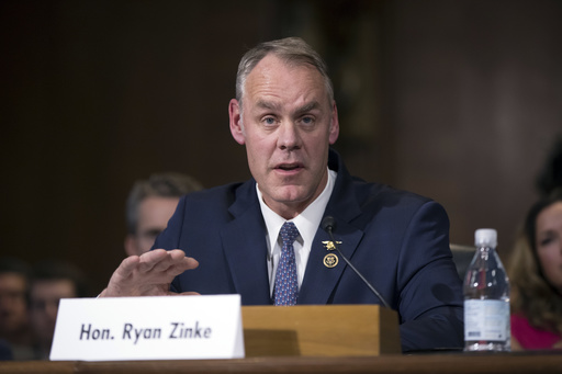 Interior Secretary-designate, Rep. Ryan Zinke, R-Mont. testifies on Capitol Hill in Washington, Tuesday, Jan. 17, 2017, at his confirmation hearing before the Senate Energy and Natural Resources Committee. Zinke, 55, a former Navy SEAL who just won his second term in Congress, was an early supporter of President-elect Donald Trump and, like his prospective boss, has expressed skepticism about the urgency of climate change. (AP Photo/J. Scott Applewhite)