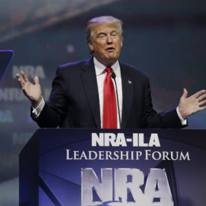 Republican presidential candidate Donald Trump speaks at the National Rifle Association convention Friday, May 20, 2016, in Louisville, Ky. (AP Photo/Mark Humphrey)