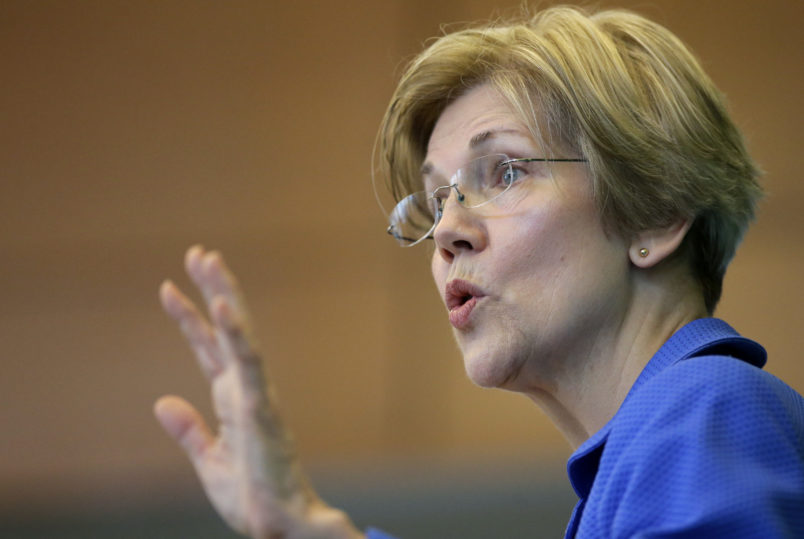 U.S. Sen. ElizabethWarren, D-Mass., addresses business leaders during a New England Council luncheon at a hotel, Monday, March 27, 2017, in Boston. (AP Photo/Steven Senne)