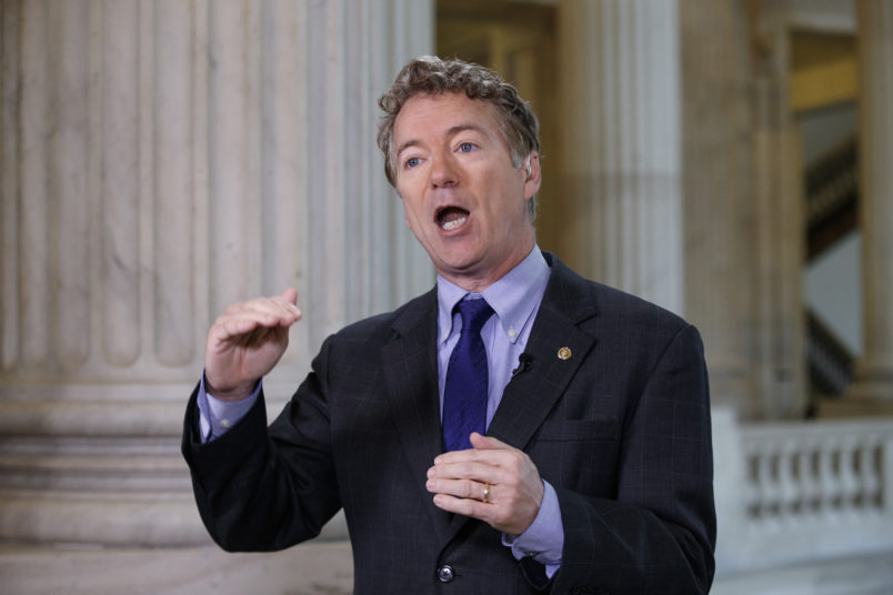 """Sen. Rand Paul, R-Ky., criticizes the House Republican healthcare reform plan as """"Obamacare light"""" during a television interview on Capitol Hill in Washington, Tuesday, March 7, 2017. (AP Photo/J. Scott Applewhite)"""