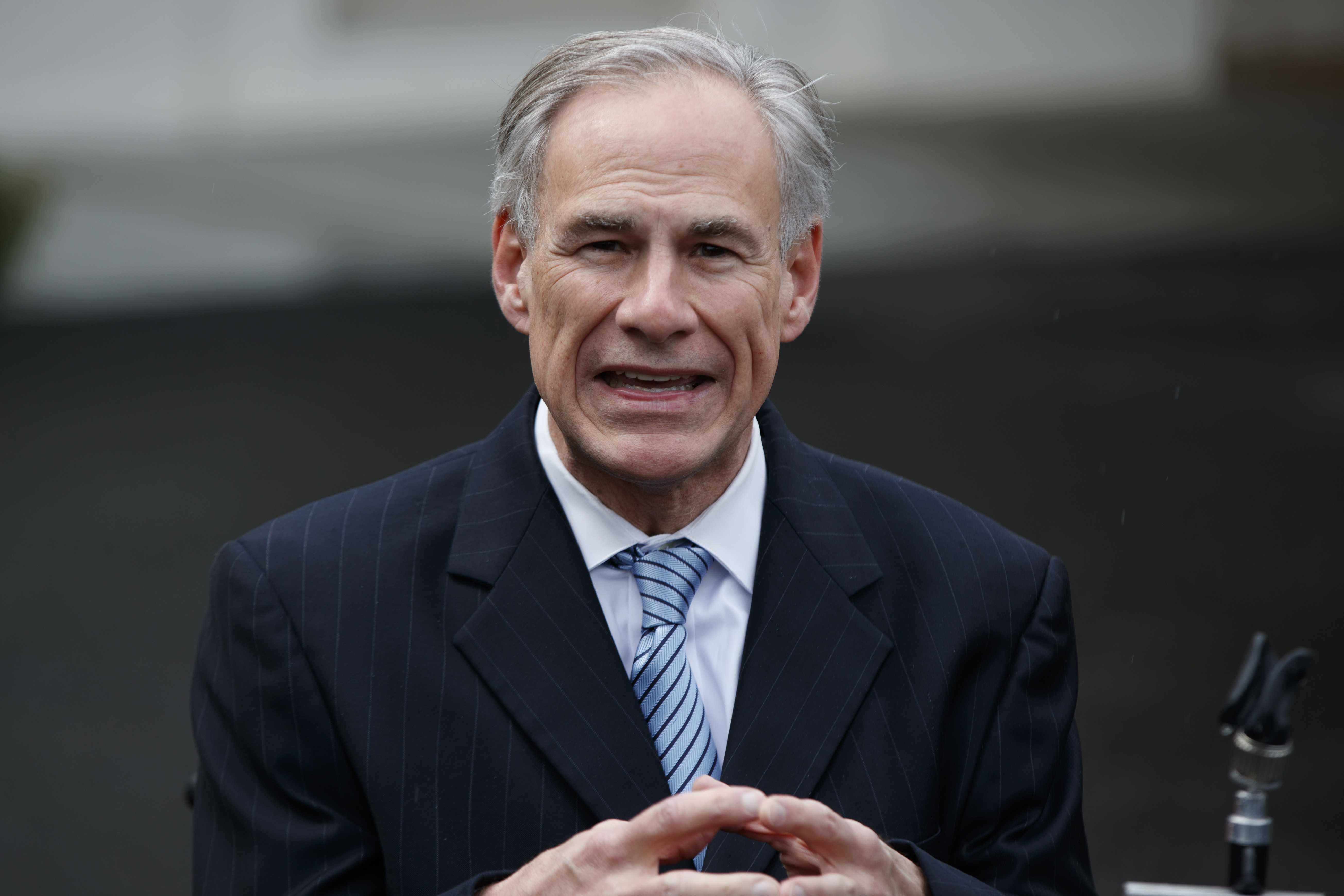 Gov. Greg Abbott, R-Texas, talks to reporters after meeting with President Donald Trump at the White House, Friday, March 24, 2017, in Washington. (AP Photo/Evan Vucci)