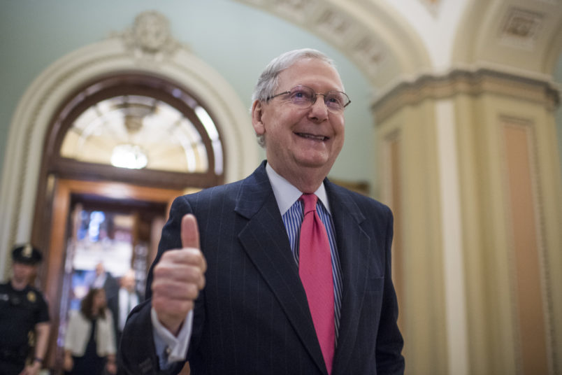"UNITED STATES - APRIL 6: Senate Majority Leader Mitch McConnell, R-Ky., gives a thumbs up after the Senate invoked the ""nuclear option"" which will allow for a majority vote to confirm a Supreme Court justice nominee, April 6, 2017. The vote for nominee Neil Gorsuch is scheduled for Friday. (Photo By Tom Williams/CQ Roll Call)"