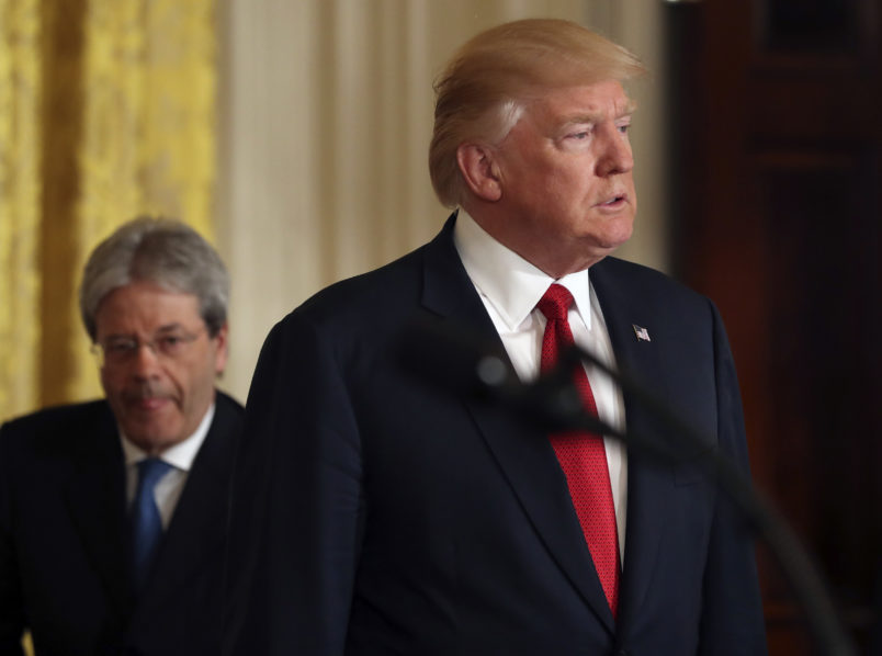 President Donald Trump and Italian Prime Minister Paolo Gentiloni hold a joint news conference in the East Room of the White House in Washington, Thursday, April 20, 2017. (AP Photo/Andrew Harnik)