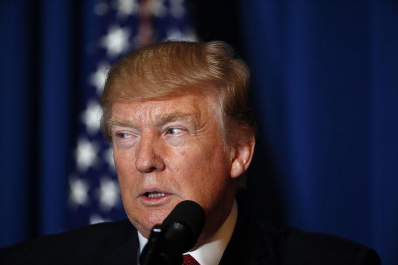 President Donald Trump speaks at Mar-a-Lago, Thursday, April 6, 2017, in Palm Beach, Fla. (AP Photo/Alex Brandon)