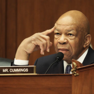 Ranking member Rep. Elijah Cummings (D-Md.) listens on. Members of the House Committee on Oversight and Government Reform met to consider a censure or IRS Commissioner John Koskinen on Wednesday, June 15, 2016 on Capitol Hill in Washington. (AP Photo/Lauren Victoria Burke)