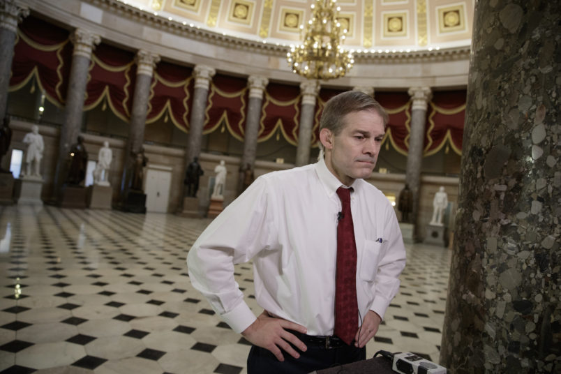 "Rep. Jim Jordan, R-Ohio, a key member and founder of the conservative Freedom Caucus, arrives for a TV interview at the Capitol in Washington, Thursday, March 23, 2017, as the GOP's long-promised legislation to repeal and replace ""Obamacare"" comes to a showdown vote. (AP Photo/J. Scott Applewhite)"