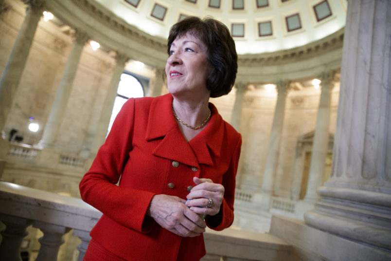 Sen. Susan Collins, R-Maine, a member of the Senate Appropriations Committee and the Senate Intelligence Committee, finishes a television news interview on Capitol Hill in Washington, Tuesday, March 28, 2017. (AP Photo/J. Scott Applewhite)