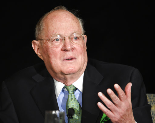 U.S. Supreme Court Justice Anthony Kennedy speaks at the Ninth Circuit Judicial Conference held Wednesday, July 15, 2015 in San Diego. Kennedy's appearance at the 9th Circuit Judicial Conference comes shortly after the nation's highest court put an end to same-sex marriage bans in the 14 states that still maintained them and provided an exclamation point for breathtaking changes in the nation's social norms in recent years.  (AP Photo/Denis Poroy)