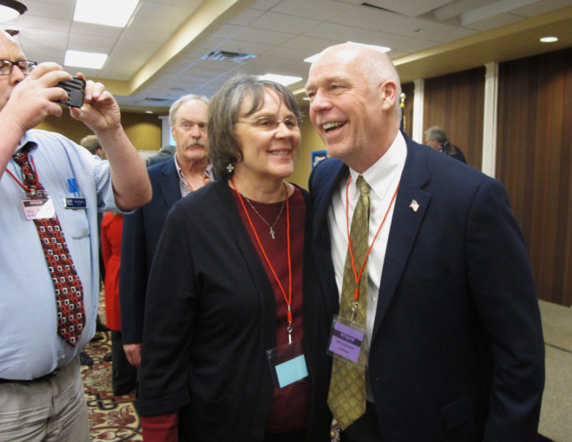 /// Photo eds,Here is a photo I took today for a story moving now slugged Montana Special Election. This will be the last one of the night. Caption is below.Thanks,Matt, HLN26 - Greg Gianforte, right, receives congratulations from a supporter on Monday, March 06, 2017, in Helena, Montana, after winning the Republican nomination for Montana's special election for U.S. House. The technology entrepreneur will face Democratic nominee Rob Quist in the May 25 election (AP Photo/Matt Volz)