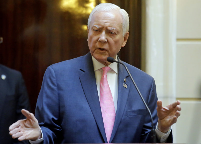 FILE - This Feb. 22, 2017, file photo, Utah Sen. Orrin Hatch speaks to the Utah Senate at the Utah State Capitol, in Salt Lake City. Hatch is introducing a proposal that aims to remedy religious visa delays that the Mormon church says are disrupting the religion's missionary program. Hatch said in a news release Thursday, March 30, 2017,  that some people are waiting nine to 11 months to get the religious visas.  (AP Photo/Rick Bowmer, File)