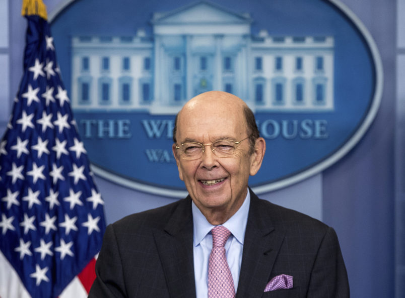 Commerce Secretary Wilbur Ross smiles while speaking to the media about a new tariff on Canadian lumber during the daily press briefing at the White House, Tuesday, April 25, 2017, in Washington. (AP Photo/Andrew Harnik)