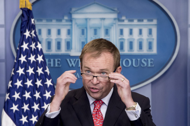 Budget Director Mick Mulvaney speaks to the media during the daily press briefing at the White House, Tuesday, May 2, 2017, in Washington. Mulvaney discussed the border wall. (AP Photo/Andrew Harnik)