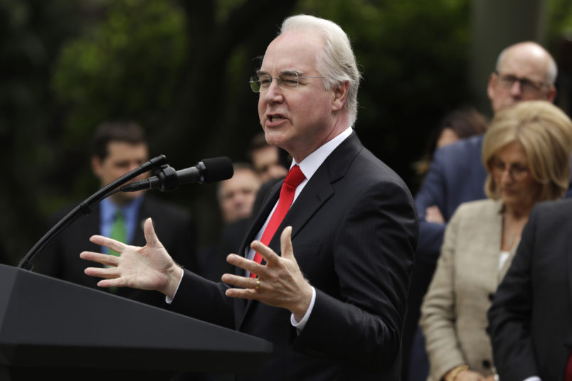 Health and Human Services Secretary Tom Price speaks in the Rose Garden of the White House in Washington, Thursday, May 4, 2017, after the House pushed through a health care bill. (AP Photo/Evan Vucci)
