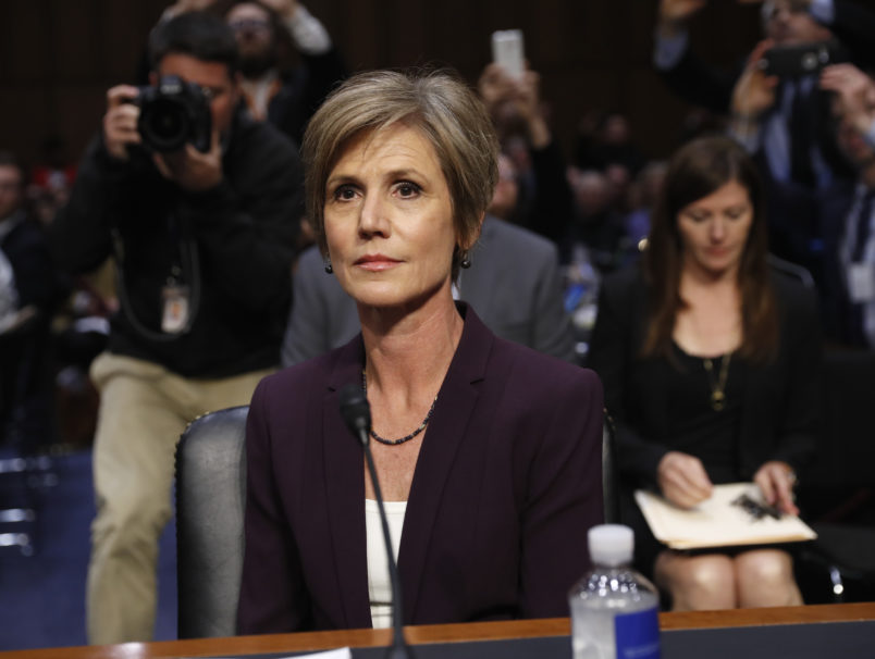 "Former acting Attorney General Sally Yates and former National Intelligence Director James Clapper testifying on Capitol Hill in Washington, Monday, May 8, 2017, before the Senate Judiciary subcommittee on Crime and Terrorism hearing: ""Russian Interference in the 2016 United States Election."" (AP Photo/Pablo Martinez Monsivais)"