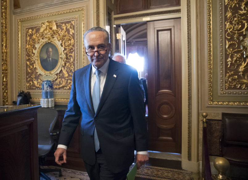 Senate Minority Leader Chuck Schumer, D-N.Y., emerges from a closed-door Democrat strategy session on the morning after the firing of FBI Director James Comey by President Donald Trump, at the Capitol in Washington, Wednesday, May 10, 2017. The abrupt firing of Comey threw into question the future of the FBI's investigation into the Trump campaign's possible connections to Russia and immediately raised suspicions of an underhanded effort to stymie a probe that has shadowed the administration from the outset. (AP Photo/J. Scott Applewhite)
