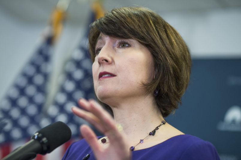 UNITED STATES - APRIL 26: Rep. Cathy McMorris Rodgers, R-Wash., conducts a news conference after a meeting of the House Republican Conference in the Capitol on April 26, 2017. (Photo By Tom Williams/CQ Roll Call)