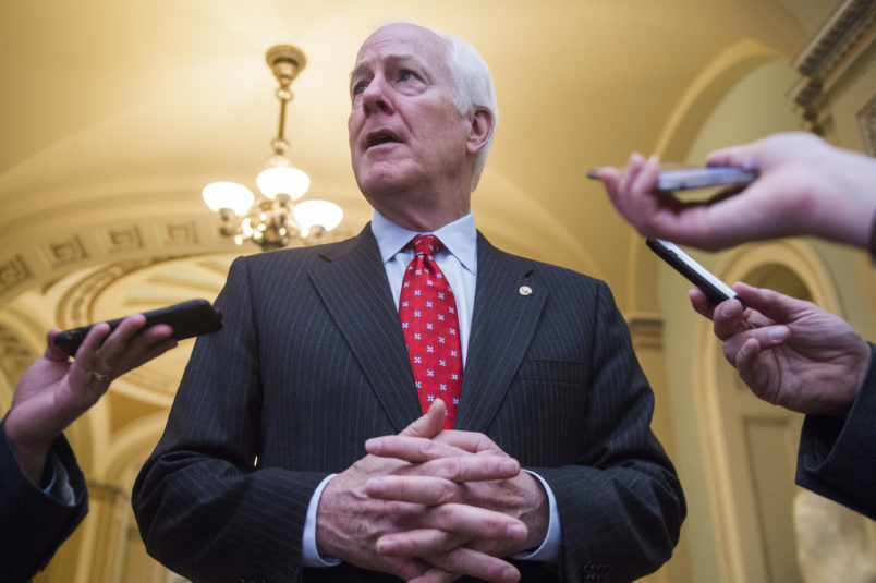 UNITED STATES - MAY 10: Senate Majority Whip John Cornyn, R-Texas, talks with reporters in the Capitol on May 10, 2017. (Photo By Tom Williams/CQ Roll Call)