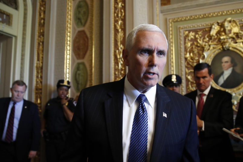"""It was the right decision at the right time,"" says Vice President Mike Pence when asked about President Trump's decision to fire FBI Director Comey, on Capitol Hill in Washington, Wednesday, May 10, 2017. (AP Photo/Jacquelyn Martin)"