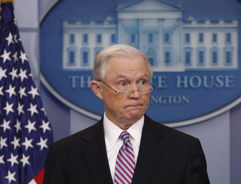 Attorney General Jeff Sessions speaks to members of the media during the daily briefing in the Brady Press Briefing Room of the White House, Monday, March 27, 2017. (AP Photo/Pablo Martinez Monsivais)