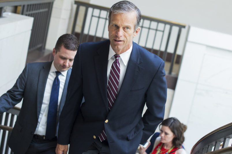 UNITED STATES - MAY 18: Sen. John Thune, R-S.D., leaves a briefing with Deputy Attorney General Rod Rosenstein in the Capitol Visitor Center on the investigation of President Trump's campaign ties to Russia on May 18, 2017. (Photo By Tom Williams/CQ Roll Call)