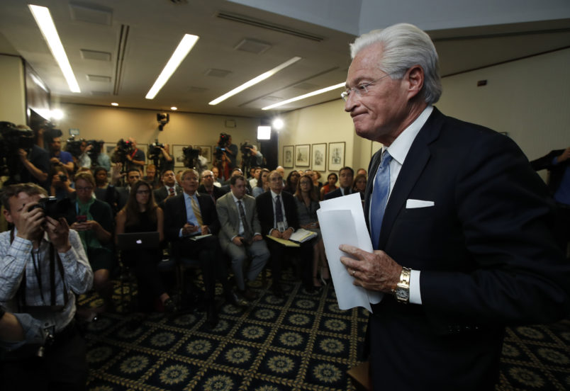 Marc Kasowitz personal attorney of President Donald Trump, leaves a packed room at the National Press Club in Washington, Thursday, June 8, 2017 after delivering a statement following the congressional testimony of former FBI Director James Comey.    (AP Photo/Manuel Balce Ceneta)