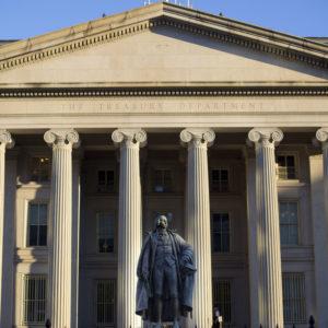 The U.S. Treasury Department building in Washington, Thursday, June 8, 2017. (AP Photo/Pablo Martinez Monsivais)