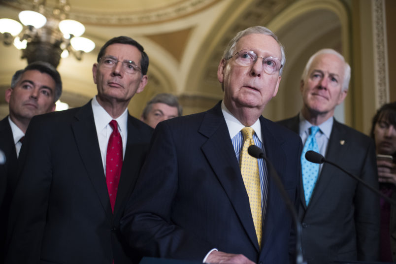 UNITED STATES - JUNE 6: From left, Sens. Cory Gardner, R-Colo., John Barrasso, R-Wyo., Roy Blunt, R-Mo., Senate Majority Leader Mitch McConnell, R-Ky., and Majority Whip John Cornyn, R-Texas, conduct a news conference after the Senate Policy Luncheons on June 6, 2017. (Photo By Tom Williams/CQ Roll Call)