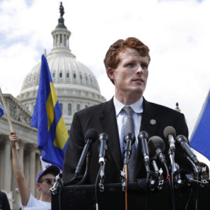 """Rep. Joe Kennedy, D-Mass., speaks in support of transgender members of the military, Wednesday, July 26, 2017, on Capitol Hill in Washington, after President Donald Trump said Wednesday he wants transgender people barred from serving in the U.S. military """"in any capacity,"""" citing """"tremendous medical costs and disruption."""" (AP Photo/Jacquelyn Martin)"""