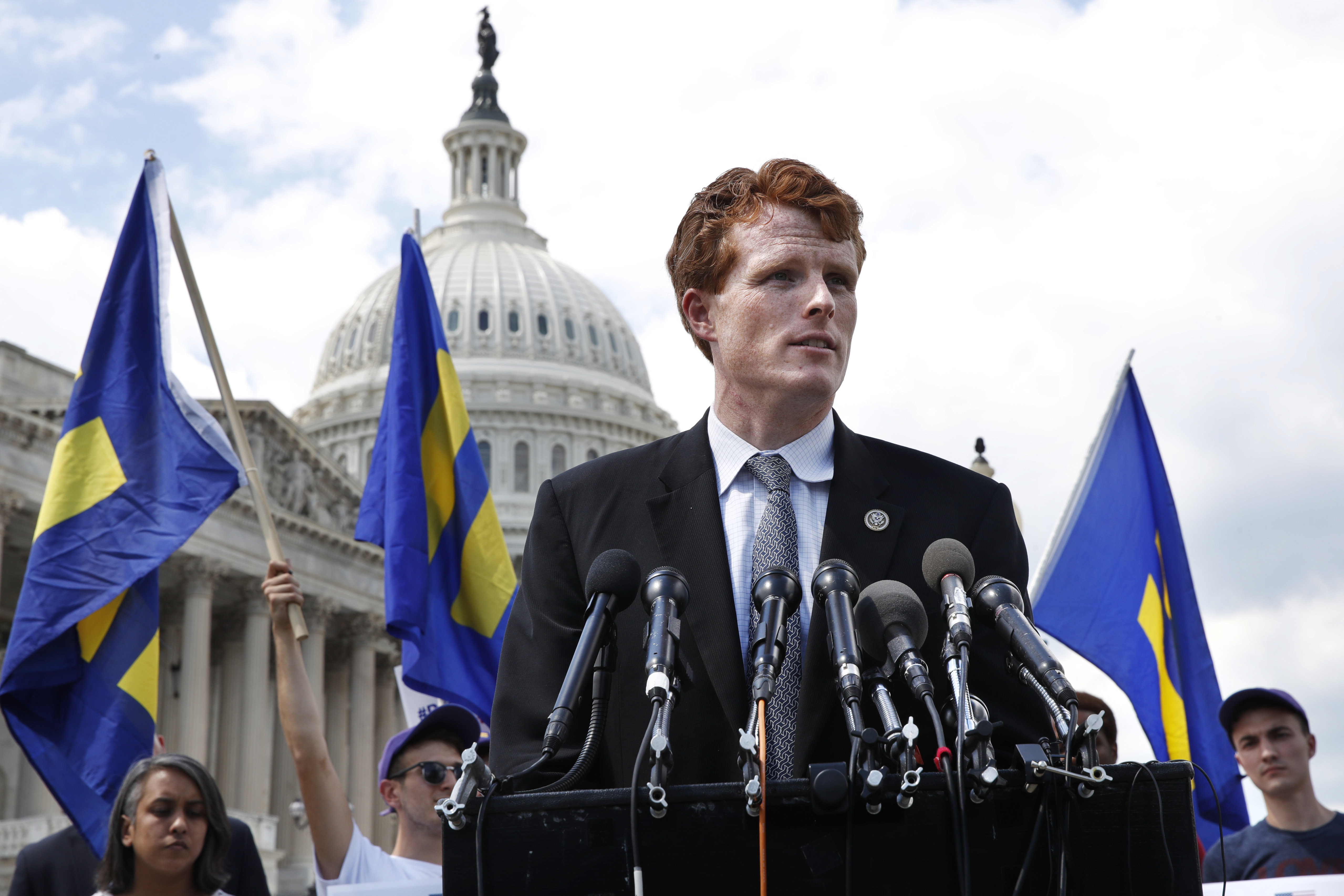 "Rep. Joe Kennedy, D-Mass., speaks in support of transgender members of the military, Wednesday, July 26, 2017, on Capitol Hill in Washington, after President Donald Trump said Wednesday he wants transgender people barred from serving in the U.S. military ""in any capacity,"" citing ""tremendous medical costs and disruption."" (AP Photo/Jacquelyn Martin)"