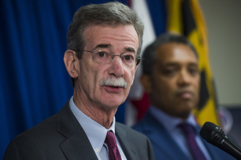 UNITED STATES - JUNE 12: Maryland Attorney General Brian Frosh, left, and D.C. Attorney General Karl Racine, conduct a news conference on a lawsuit they've filed against President Donald Trump alleging he violated emoluments clauses in the Constitution by accepting foreign payments through his businesses on June 12, 2017. (Photo By Tom Williams/CQ Roll Call)
