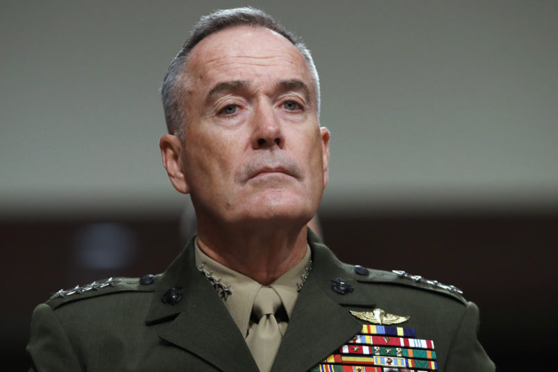 Gen. Joseph Dunford, chairman of the Joint Chiefs of Staff, listens during a Senate Armed Services Committee hearing on the defense budget, on Capitol Hill in Washington, Tuesday, June 13, 2017. (AP Photo/Jacquelyn Martin)