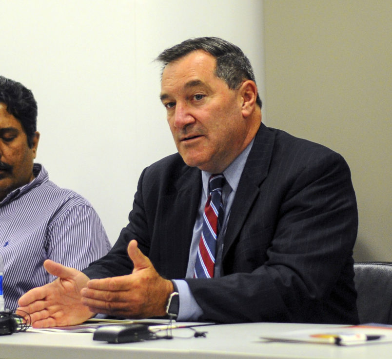 Sen. Joe Donnelly (D-IN), visited Hamilton Center in Terre Haute, IN on Friday to discuss the opioid addiction crisis with the staff. (AP Photo/Tribune-Star, Austen Leake)
