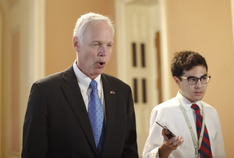 Sen. Ron Johnson, R-Wisc., on Capitol Hill in Washington Thursday, July 13, 2017. Senate Majority Leader Mitch McConnell of Ky., rolls out the GOP's revised health care bill, pushing toward a showdown vote next week with opposition within the Republican ranks. (AP Photo/Pablo Martinez Monsivais)