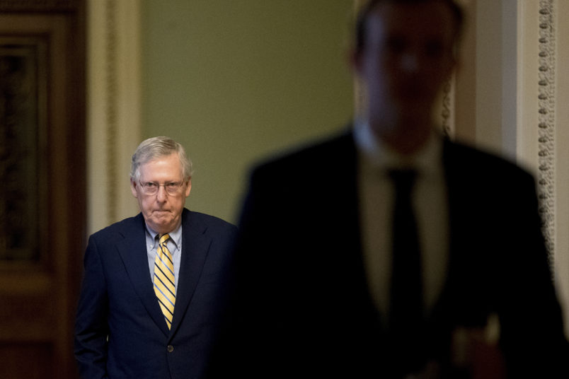 Senate Majority Leader Mitch McConnell of Ky. arrives on Capitol Hill in Washington, Monday, July 17, 2017. The Senate has been forced to put the republican's health care bill on hold for as much as two weeks until Sen. John McCain, R-Ariz., can return from surgery. (AP Photo/Andrew Harnik)