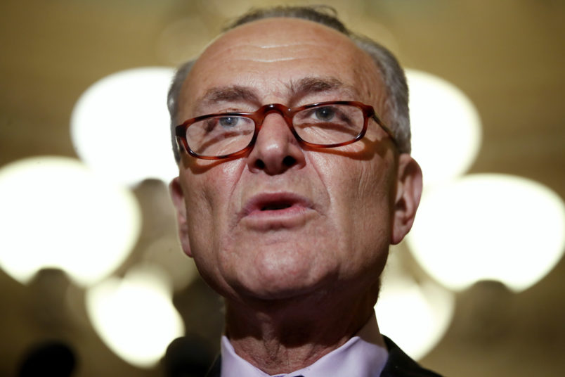 Senate Minority Leader Sen. Charles Schumer of N.Y. talks to reporters on Capitol Hill in Washington, Tuesday, July 25, 2017, after Vice President Mike Pence broke a 50-50 tie to start debating Republican legislation to tear down much of the Obama health care law. (AP Photo/Jacquelyn Martin)