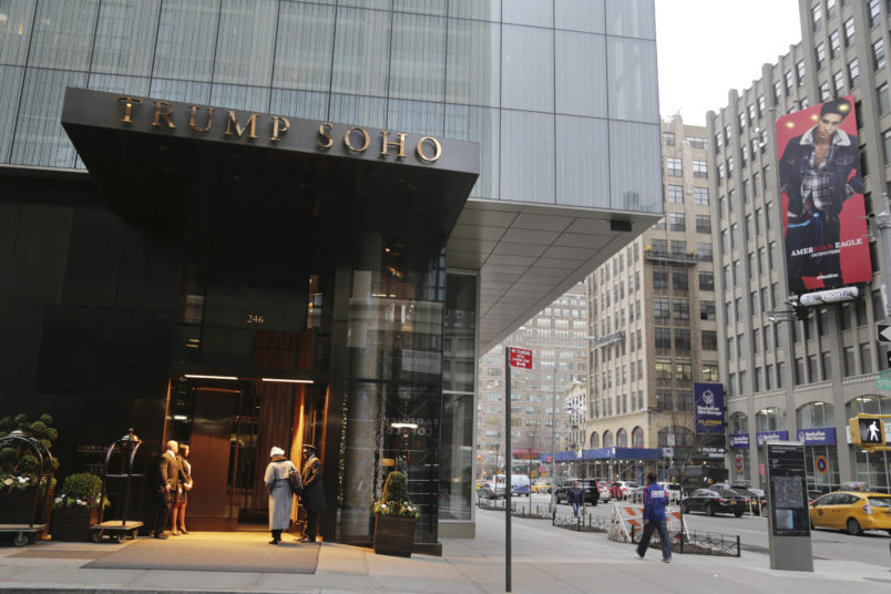 The Trump Soho hotel is seen in New York, Tuesday, Dec. 6, 2016. The Cavaliers have made other arrangements for players who do not want to stay at a New York hotel branded by President-elect Donald Trump. (AP Photo/Seth Wenig)