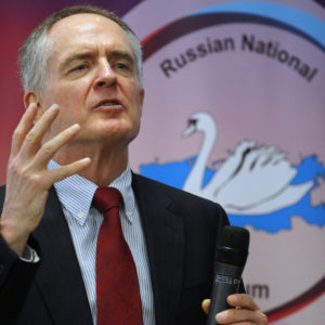 """U.S. writer Jared Taylor, author of the book """"White Identity"""" speaks during the International Russian Conservative Forum in St.Petersburg, Russia, Sunday, March 22, 2015. Nationalist supporters of Russian President Vladimir Putin brought together controversial far-right politicians from across Europe on Sunday in an effort to demonstrate international support for Russia and weaken European Union commitment to sanctions imposed on Russia over its role in Ukraine. (AP Photo/Dmitry Lovetsky)"""