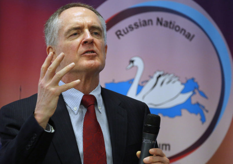 "U.S. writer Jared Taylor, author of the book ""White Identity"" speaks during the International Russian Conservative Forum in St.Petersburg, Russia, Sunday, March 22, 2015. Nationalist supporters of Russian President Vladimir Putin brought together controversial far-right politicians from across Europe on Sunday in an effort to demonstrate international support for Russia and weaken European Union commitment to sanctions imposed on Russia over its role in Ukraine. (AP Photo/Dmitry Lovetsky)"