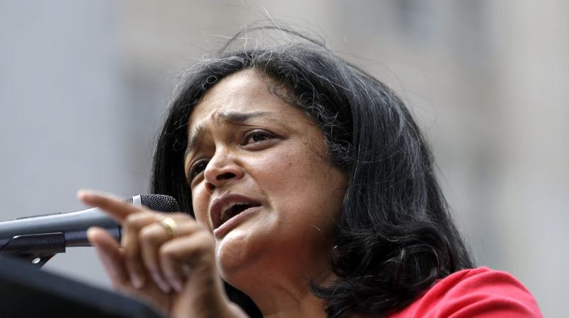 Sen. Pramila Jayapal, D-Seattle, speaks at a rally for Democratic presidential candidate Sen. Bernie Sanders, I-Vt., Saturday, Aug. 8, 2015, in downtown Seattle. (AP Photo/Elaine Thompson)