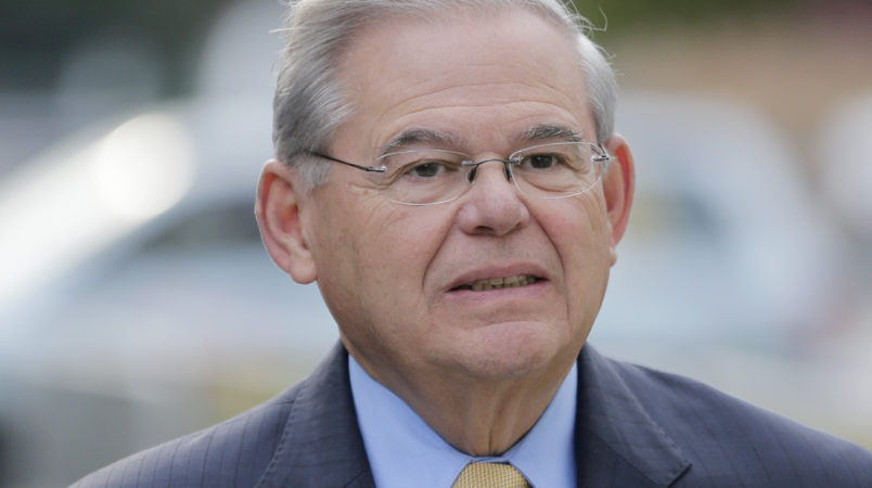 Sen. Bob Menendez arrives to court in Newark, N.J., Wednesday, Sept. 6, 2017. The corruption trial for the New Jersey Democrat and a wealthy Florida eye doctor begins on Wednesday in Newark. The trial will examine whether Menendez was illegally lobbying for Salomon Melgen, who gave him political contributions and gifts including luxury vacations. (AP Photo/Seth Wenig)